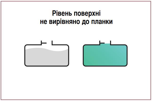Друга помилка розрахунку маси пального. Не вирівнюється рівень пального відповідно до рівня «планки».